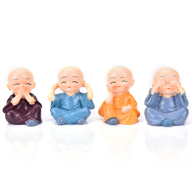 4Pcs/Set little monks Small Ornaments Lovely Car Interior Accessories Doll creative Maitreya resin gifts