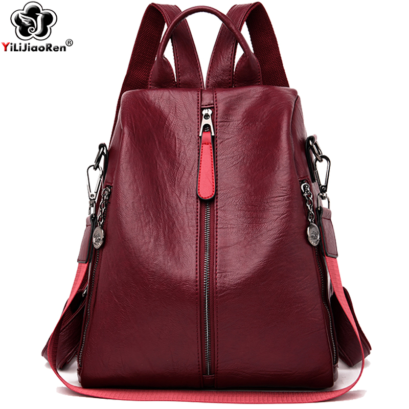 Fashion Backpack Women Shoulder Bag Large Capacity School Bags For Teenage Girls Women Leather Backpacks Anti Theft Travel Bag