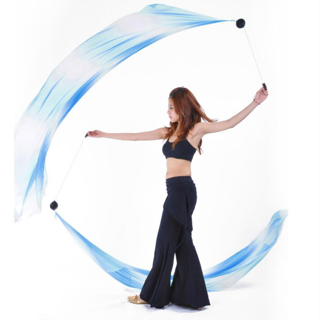 Belly Dance Helpers Thrown Poi Balls Adjustable Chain with Silk Veil for Music Festivals Costumes Clubs