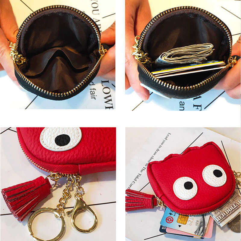 Genuine Leather Coin Purse for Women Cute Lady Small Tassel Keychain Wallet Coin Pocket Female Mini Money Bags Coins Change Case
