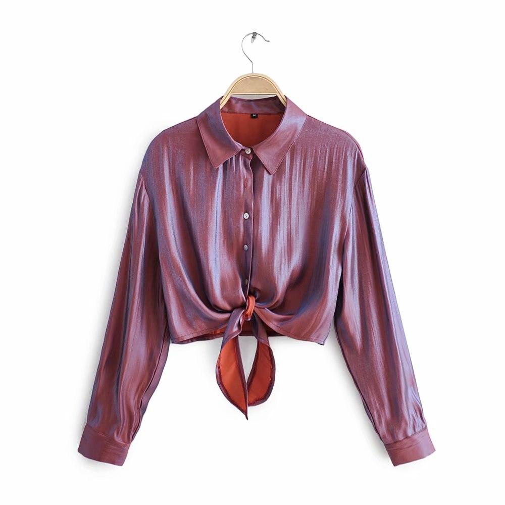 Women Sexy Gradual Gloss Solid Casual Short Smock Blouse Shirts Women Long Sleeve Hem Bowknot Chic Blusas Femininas Tops LS4220