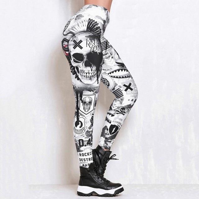 #Z30  Skull Women Printed Leggings Fitness Slim Workout Leggings Trousers For Women Fashion High Waist Leggings Clothing Mujer 2