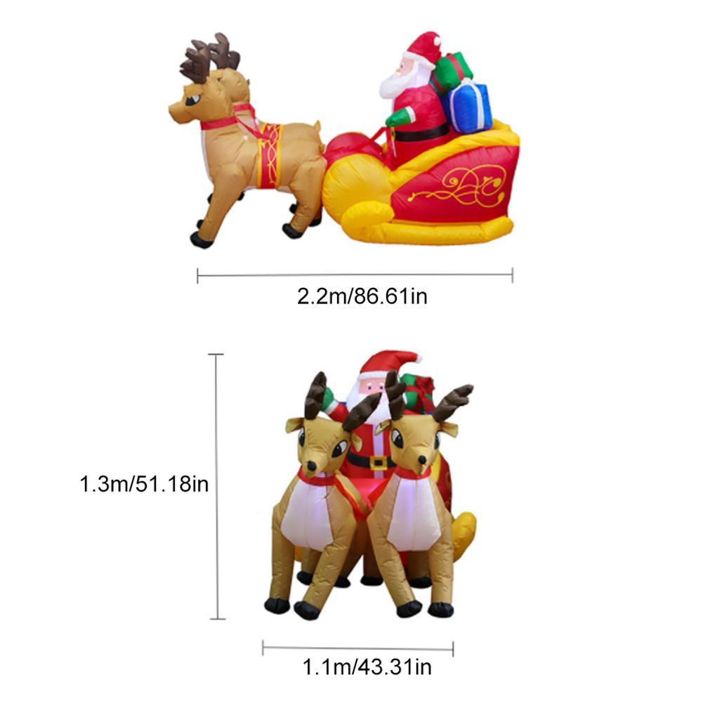 220cm gigante inflável papai noel duplo veado trenó explodir brinquedos divertidos para a criança presentes de natal festa de halloween prop led iluminado - 6