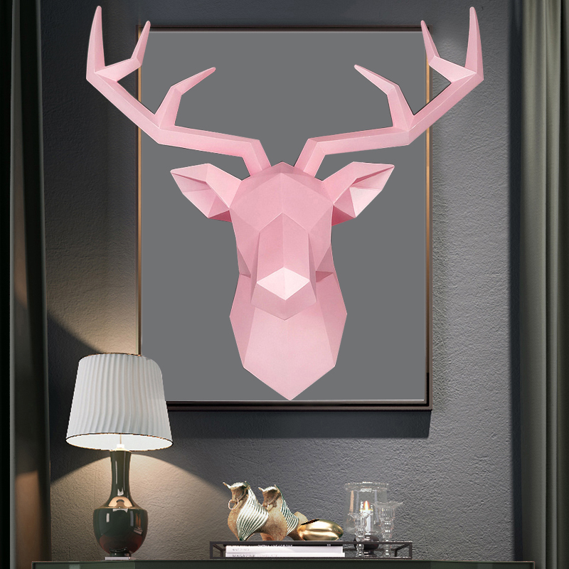 3D Deer Head Statue Decor Abstract Sculpture Home Decoration Accessories 50x49x20cm Living Room Wall Big Elk Statues Decorations