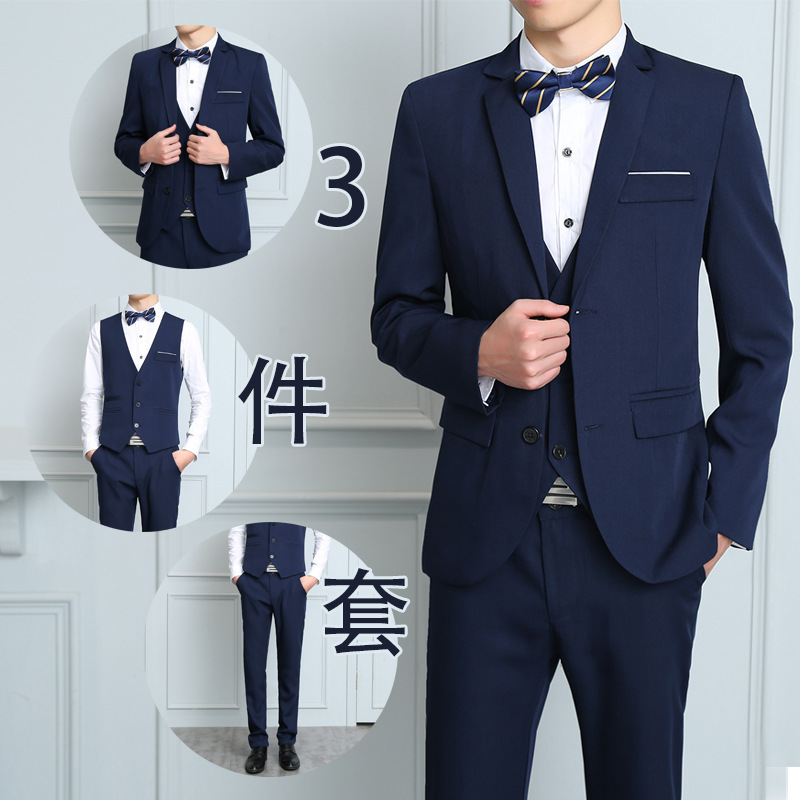 New Style Suit Men Casual Three-piece Set Slim Fit Stripes Wedding Groom Business Formal Wear Business Korean-style Suit