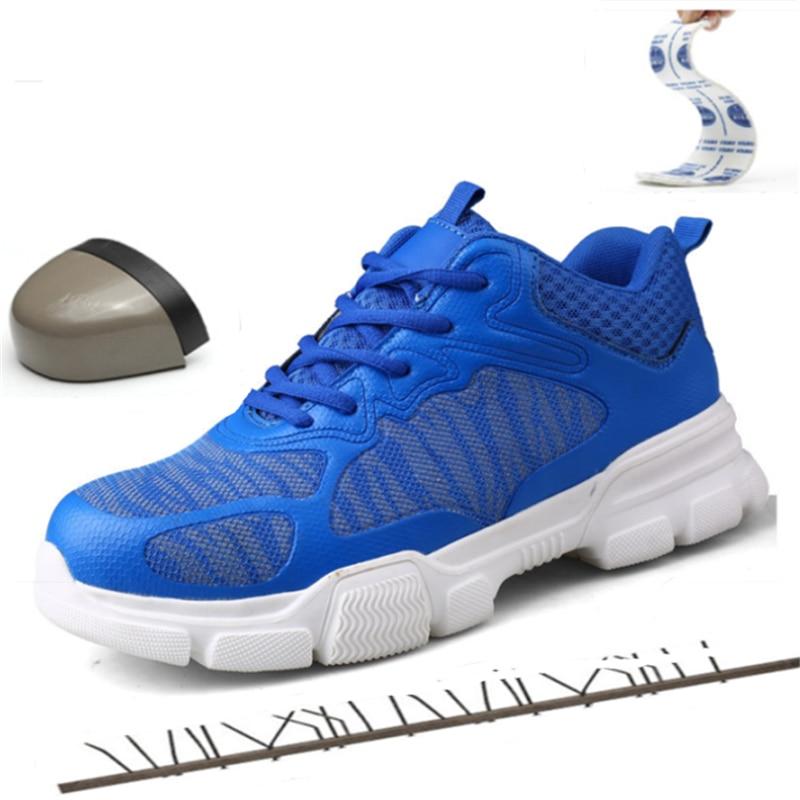 37-47 ยี่ห้อ Designer Men รองเท้า Steel Toe Cap น้ำหนักเบา Glitter ทำงานชายรองเท้ากลางแจ้งเดินป่าปีนเขารองเท้าผ้าใบ