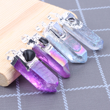 1PC Obsidian Citrines stone Jewelry Crystal pendants natural Natural Column Pendant Colored Necklace