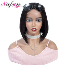 NAFUN 4x4 Lace Closure Wig Human Hair Wigs Indian Bob Wig Remy Straight Bob Lace Wigs For Black Women Short Human Hair Wigs(China)