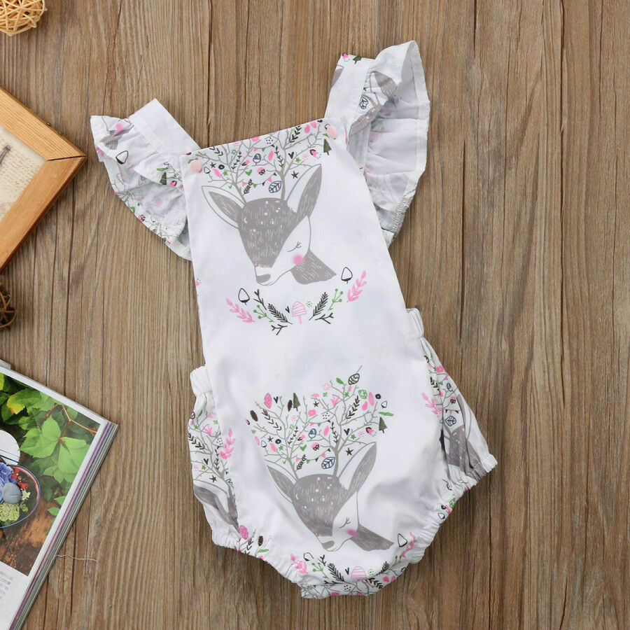 Summer Newborn Baby Girl Kid Flower Romper Jumpsuit Clothes Outfits