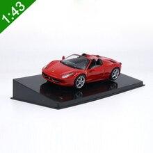 1:43 roadster meticuloso 458, modelo de carro de liga de aranha, modelo de metal estático, veículos