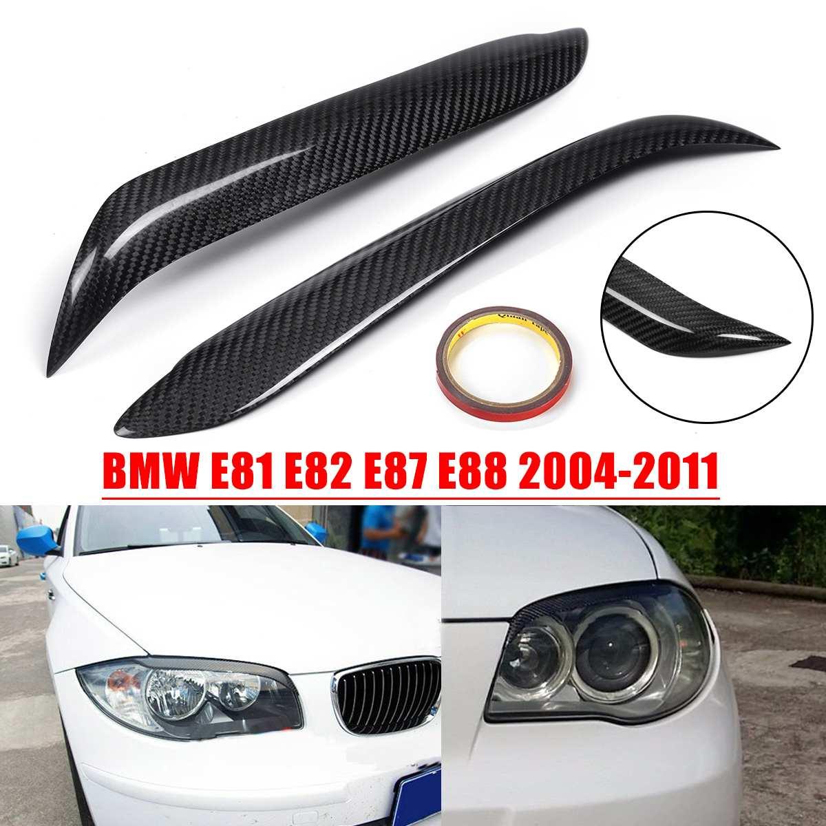 Pair Car Carbon Fiber Headlight Eyebrow Cover Trim Head Lamp Eyelid Sticker For BMW E87 E81 E82 E88