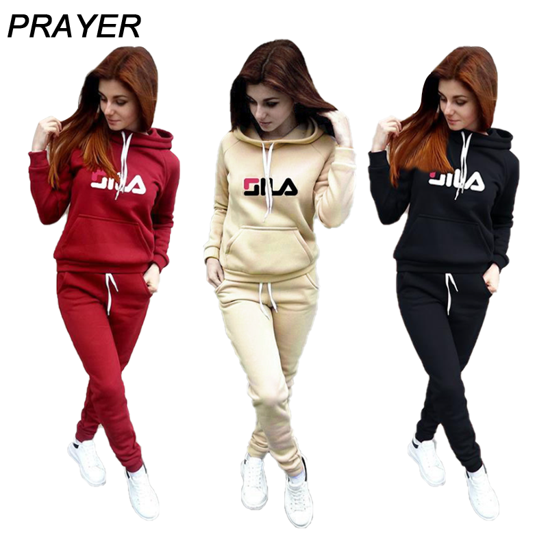 Women Hoodies Tracksuits Plus Cashmere Sweatshirt Set Print Casual Two Piece Suits Women Trousers And Racksuits With Hood