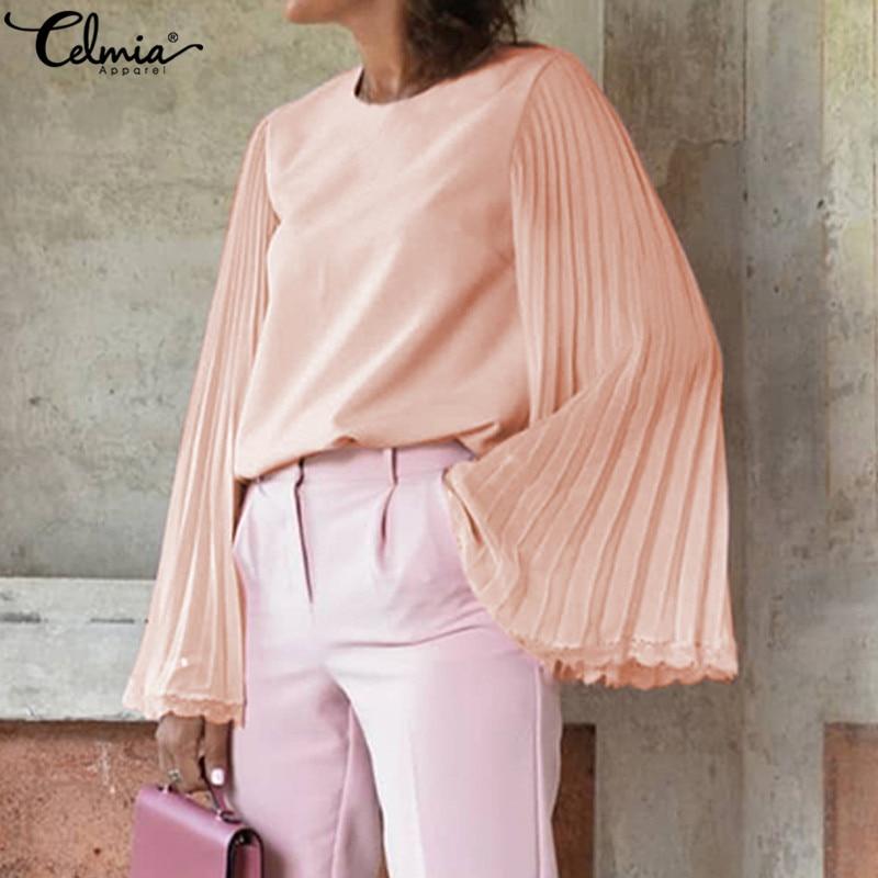 S-5XL Celmia Women Fashion Lace Blouse Long Flare Sleeve Casual Chiffon Shirt Lady Elegant Pleated Office Blusas Plus Size Top 7