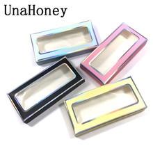 UnaHoney  lashes box soft paper eyelashes packaging for mink Lashes Rectangle Cardboard Box False Eyelashes makeup