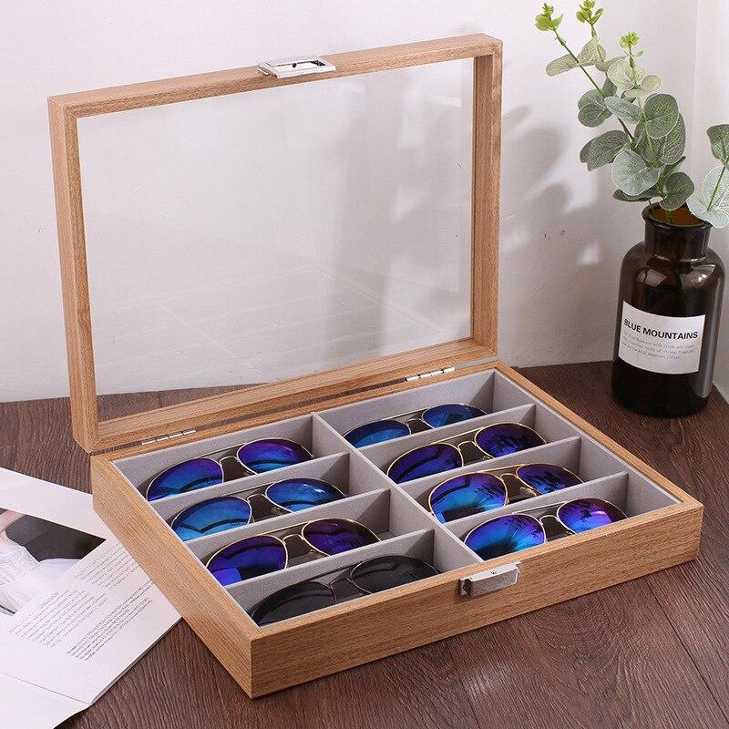 Alta qualidade de madeira 8 grades óculos caixa de armazenamento óculos de sol organizador de óculos de exibição organizador caixa de jóias com capa