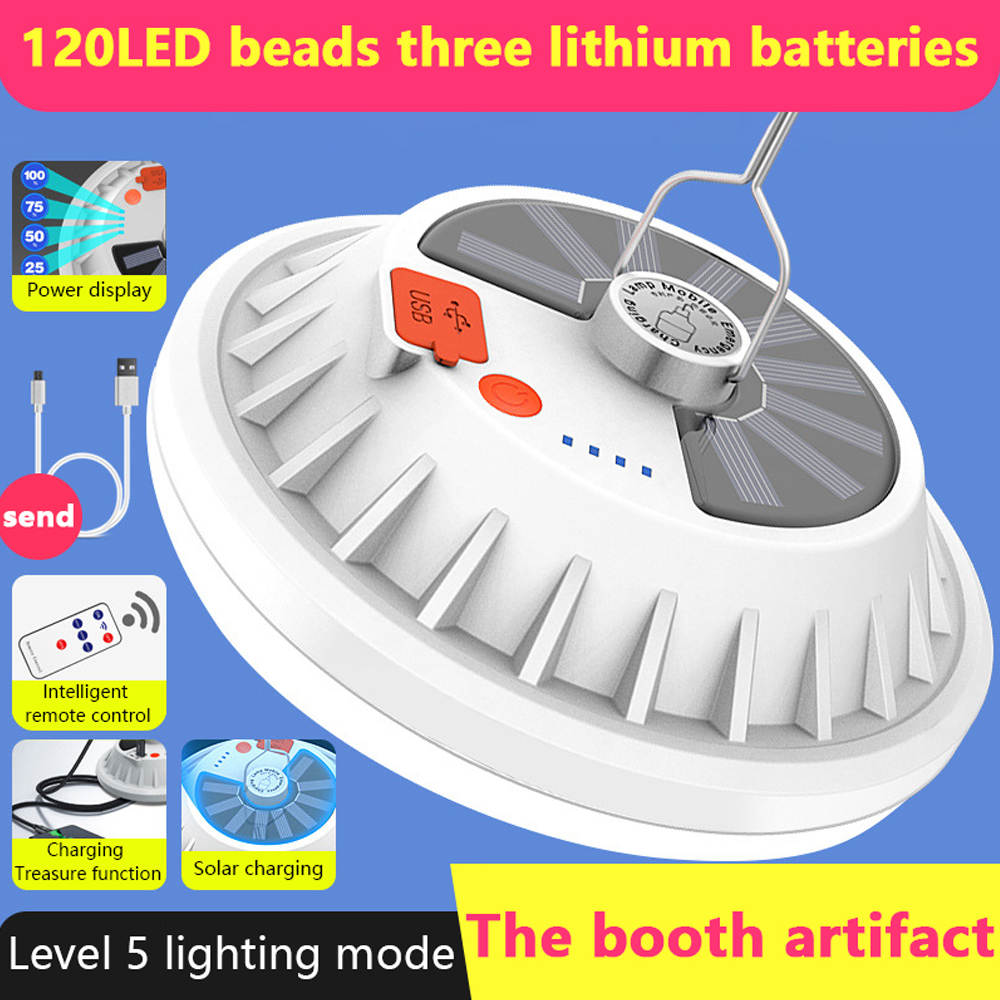 Solar Powered Camping Lights 120 LED Hook Outdoor Bulb Tent Lamp Lantern+Remote