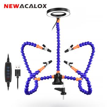 NEWACALOX biurko klip PCB uchwyt lutowniczy 3X lupa z LED Light spawanie pomocna dłoń elastyczne ramię lutowania trzecia ręka narzędzie tanie i dobre opinie CN (pochodzenie) Stały styl SN5SB Szkło Blue 3X Magnifier 3 Colors Adjustable 10 levels of light adjustable