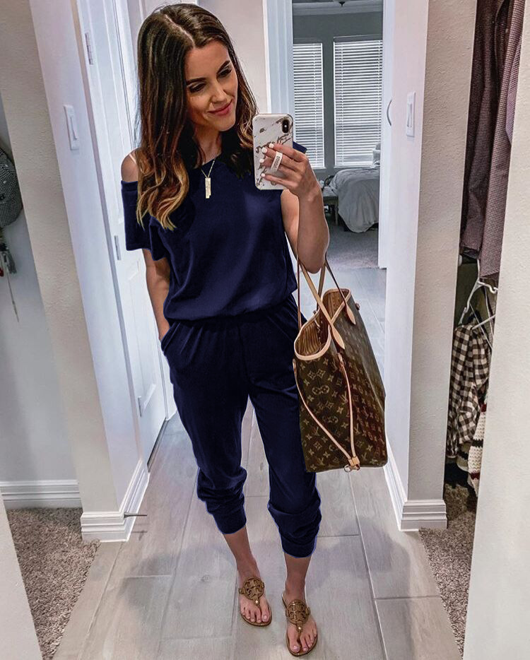 2020 Jumpsuits for Women Wryshoulder Short Sleeve Pocket Trousers One Piece Rompers One Piece Bodysuit Jumpsuits