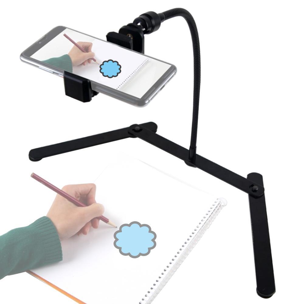 Ajustable Mobile Phone Holder Desktop Tripod Metal Stand Overhead Phone Mount for Teaching Online Video Food Crafting Demo