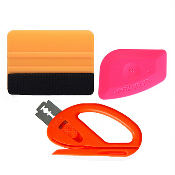 3pcs Car Wrap Folie Tool Set Vinyl Foil Film Squeegee Scraper Orange Cutter Knife Window Tint Wrapping Tool Kit Car Clean image