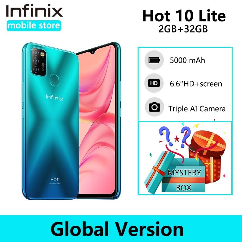 Versão global infinix quente 10 lite 2gb 32gb telefone inteligente 6.6 hd hd hd 1600*720p 5000mah bateria helio a20 13mp câmera
