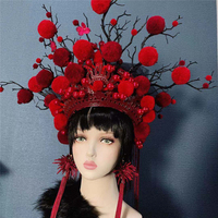 2 colors exaggerated chinese opera hat bride studio photography cap women beautiful queen cosplay head wear festival performance