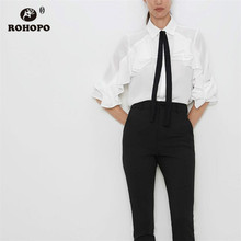 ROHOPO Cascading Ruffles Long Sleeve Black Bow Tie Autumn White Chiffon Blouse Female Chic Solid Top Shirt # 8104