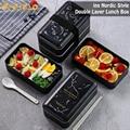Onuobao Doppel schicht Schwarz Lunch Box Mit Stäbchen und Löffel, können Mikrowelle Heizung 1,2 L Große Kapazität Lebensmittel Box