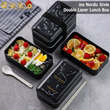 Onuobao dupla camada caixa de almoço preto com pauzinhos e colher, pode forno microondas aquecimento 1.2l grande capacidade caixa de alimentos