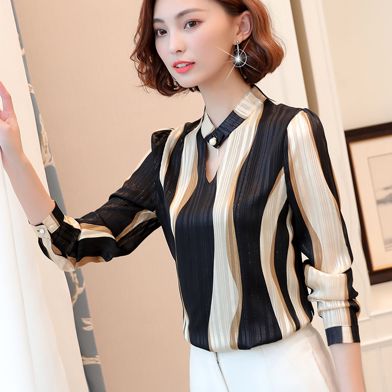 plus size tops women blouse fashion woman blouses 2020 office striped shirt chiffon blouse shirt long sleeve women shirts Z06 60 3