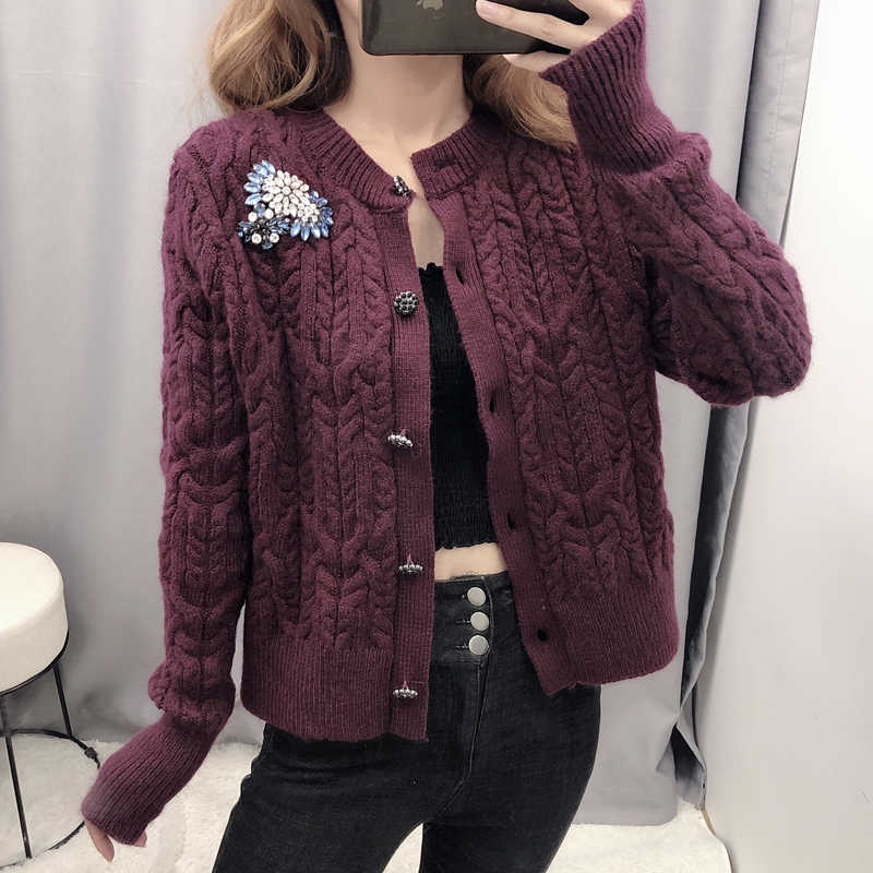 Perhiasan Berlian Sweater Fashion Wanita V Leher Rajutan Sweter Wanita Elegan Single Breasted Sweater Wanita Wanita Jab