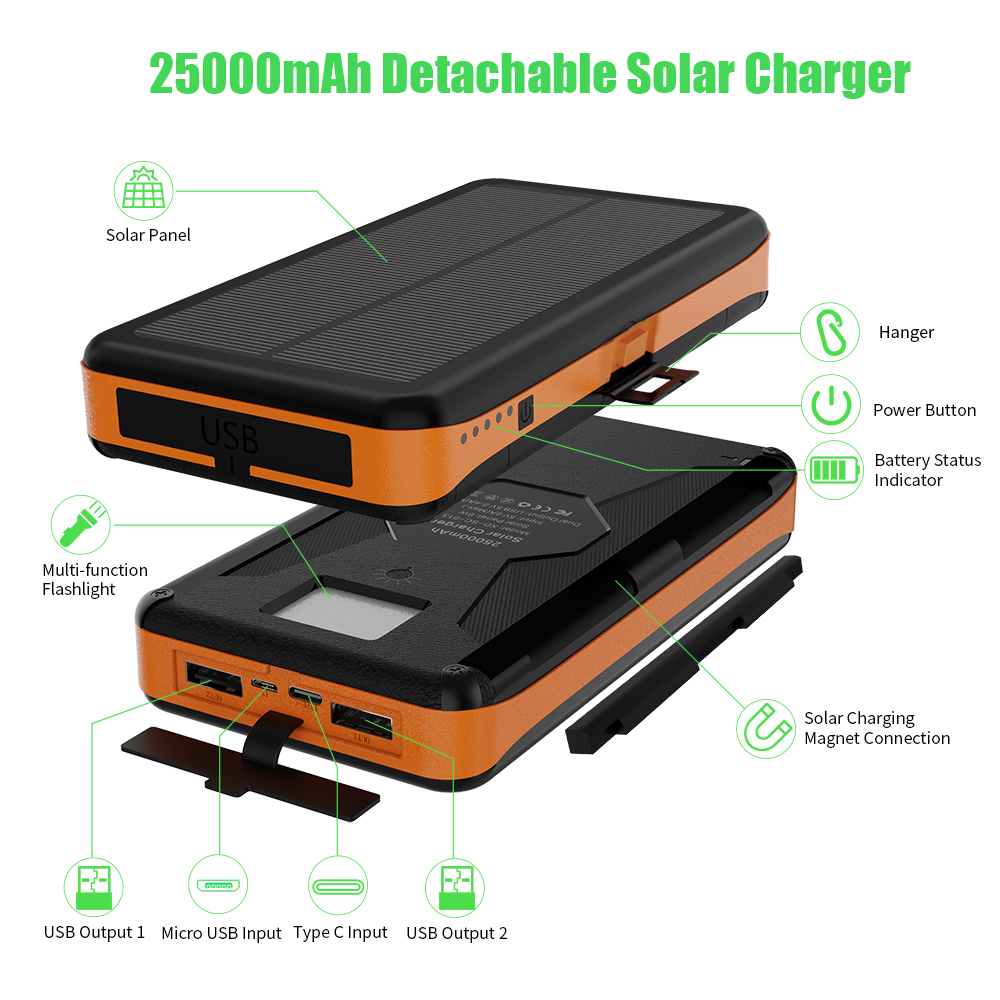 Image 3 - Rugged Solar Power Bank 25000mAh Solar External Battery Charger Waterproof Detachable Solar Panels High Efficiency Powerbank.-in Power Bank from Cellphones & Telecommunications