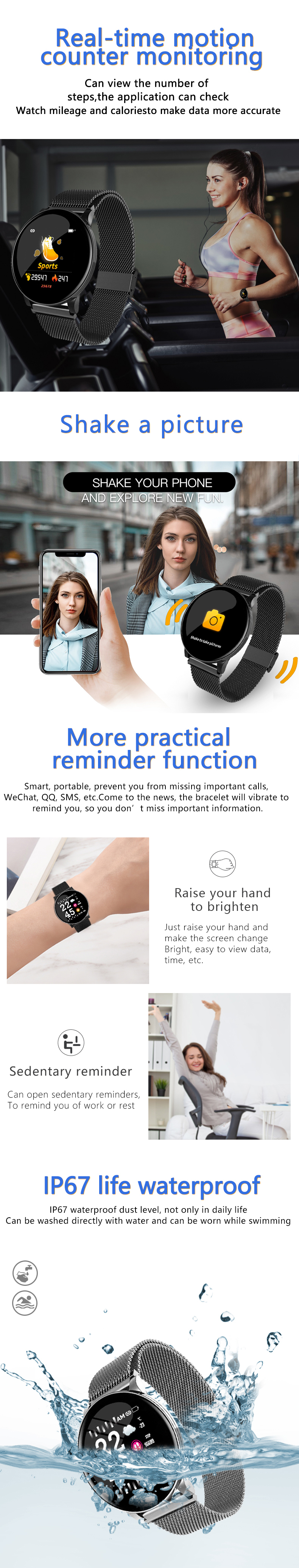 Bakeey W8 Business Style buletooth Heart Rate Blood Pressure Oxygen Sleep Monitor Waterproof Camera Remote Control Smart Watch