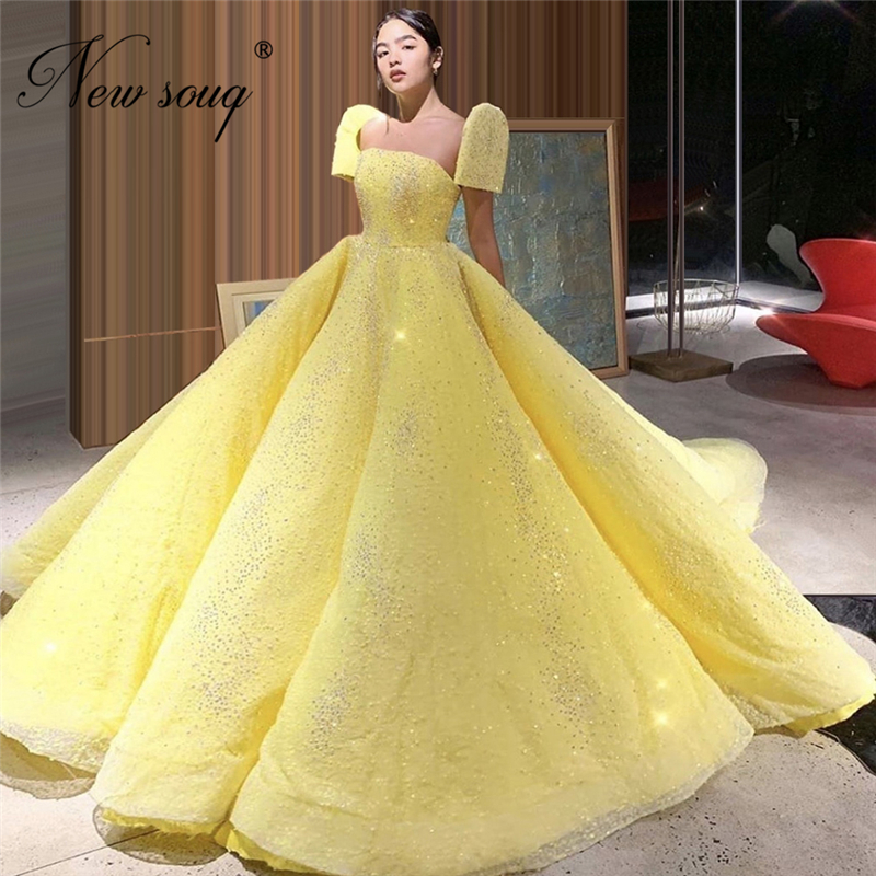 Princess Capped Sleeve Prom Gown Yellow Puffy Couture Islamic Celebrity Dresses 2020 Customize Glitter Evening Dress Robe Soiree