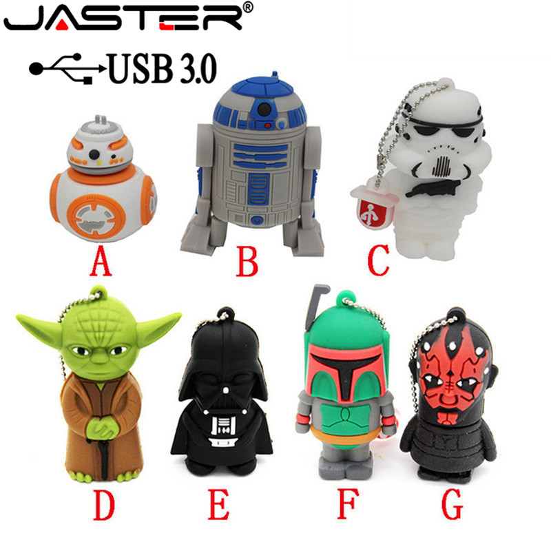 JASTER USB 3.0 Flash Drive Pen Drive Pendrive 64GB 32GB 16GB New Style Pendrive Hot Sale Fashion New Star War Memory Stick Drive