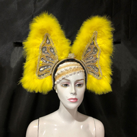 Custome Samba Dance Stage Performance Costume Ostrich Hair Back Opening Feather Headpiece Carnival Dancing Accessories Headwear