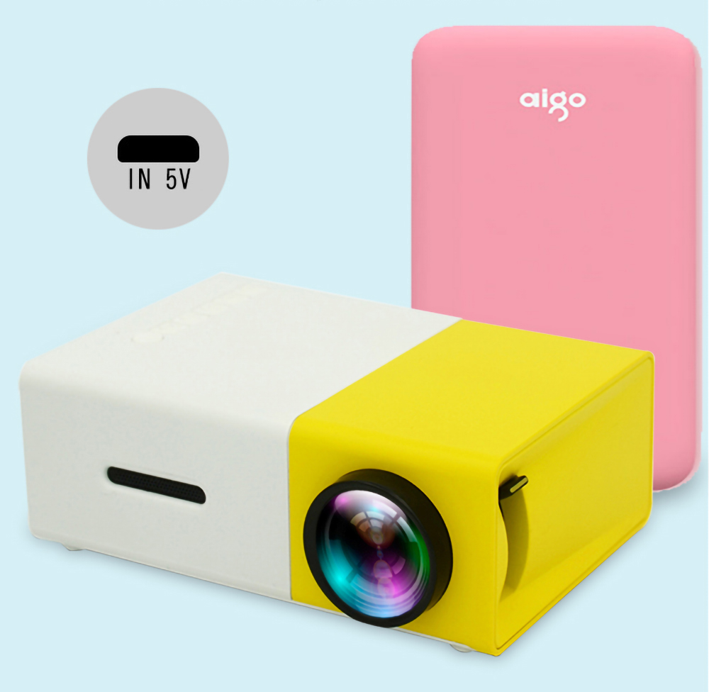 YG300 <font><b>LED</b></font> Mini Projector 320x240 Pixels Supports 1080P <font><b>YG</b></font>-<font><b>300</b></font> HDMI USB Audio Portable Projector Home Media Video Player image