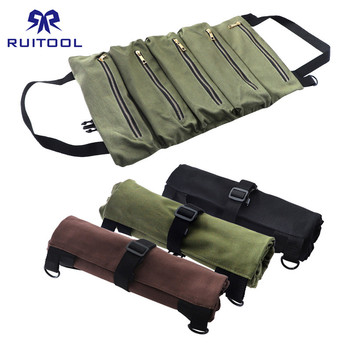 500*290mm Tool Bag Canvas Tool Roll Pouch Multi-Purpose Zipper Storage Pocket Hanging Portable Toolbag