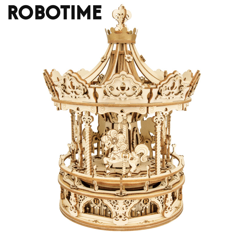 Robotime 336pcs Rotatable DIY 3D Romantic Carousel Wooden Puzzle Game Assembly Music Box Toy Gift for Children Kids Adult AMK62