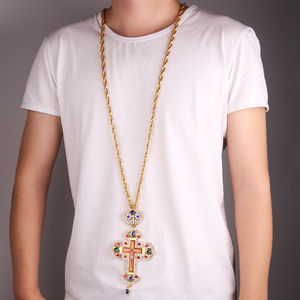 Image 5 - High quality pectoral cross orthodox Jesus crucifix pendants rhinestones chain religious necklace Jewelry pastor Prayer items