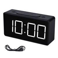 USB مرآة ساعة تنبيه LED شاشة ديجيتال الإلكترونية الوقت درجة الحرارة التقويم منبه للمنضدة ساعة شحن مكتب طالب الساعات