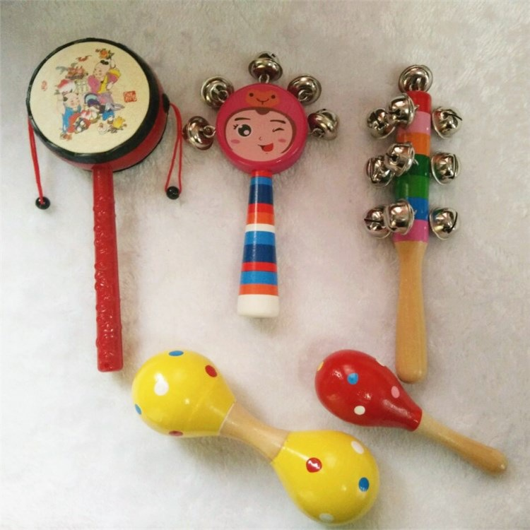 Wooden Rattle Toy Set Colorful Wood Infant Dumbbell Sand Hammer Rattle Bell Non-10-30 Yuan Play