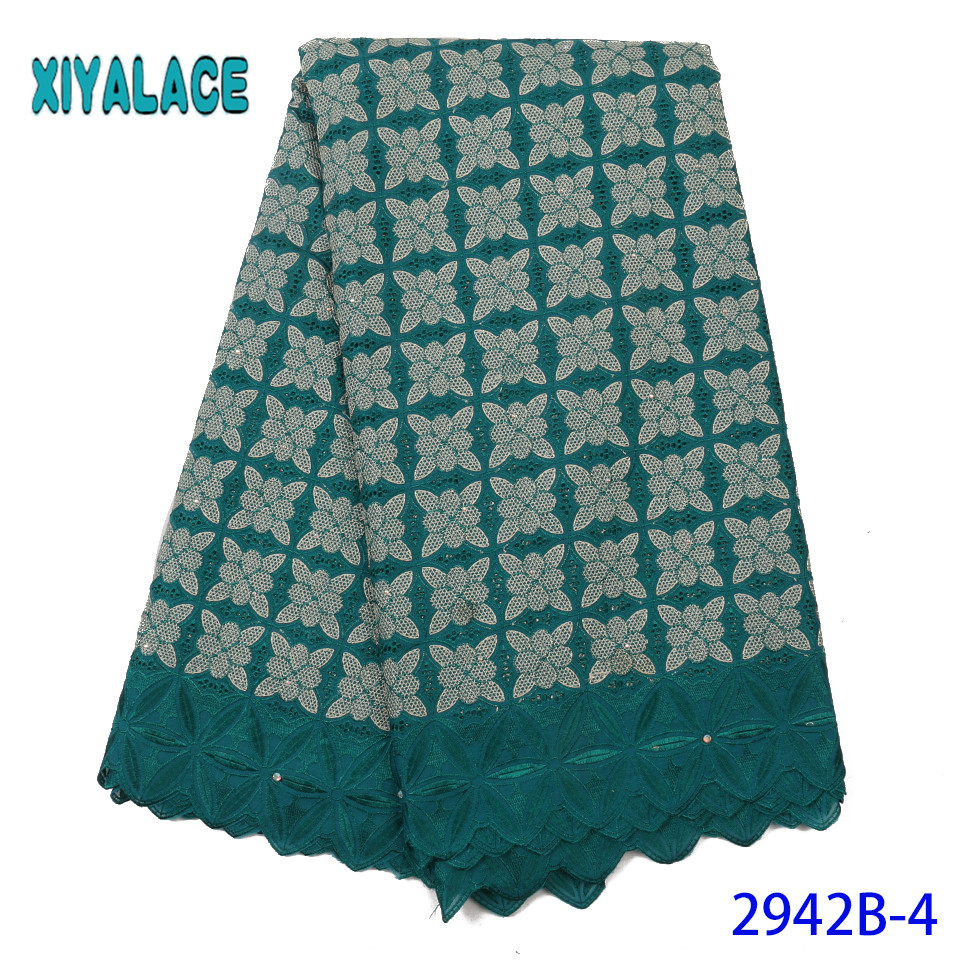 Nigerian French Lace,High Quality Lace Fabric With Stones,Latest Cotton Lace For Women Dresses KS2942B-4