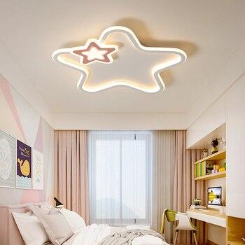 Modern Led Ceiling Light Pink Star Lights For Bedroom Children Kids Baby Room Black White Girls Boys Lighting Home Ceiling Lamp Leather Bag