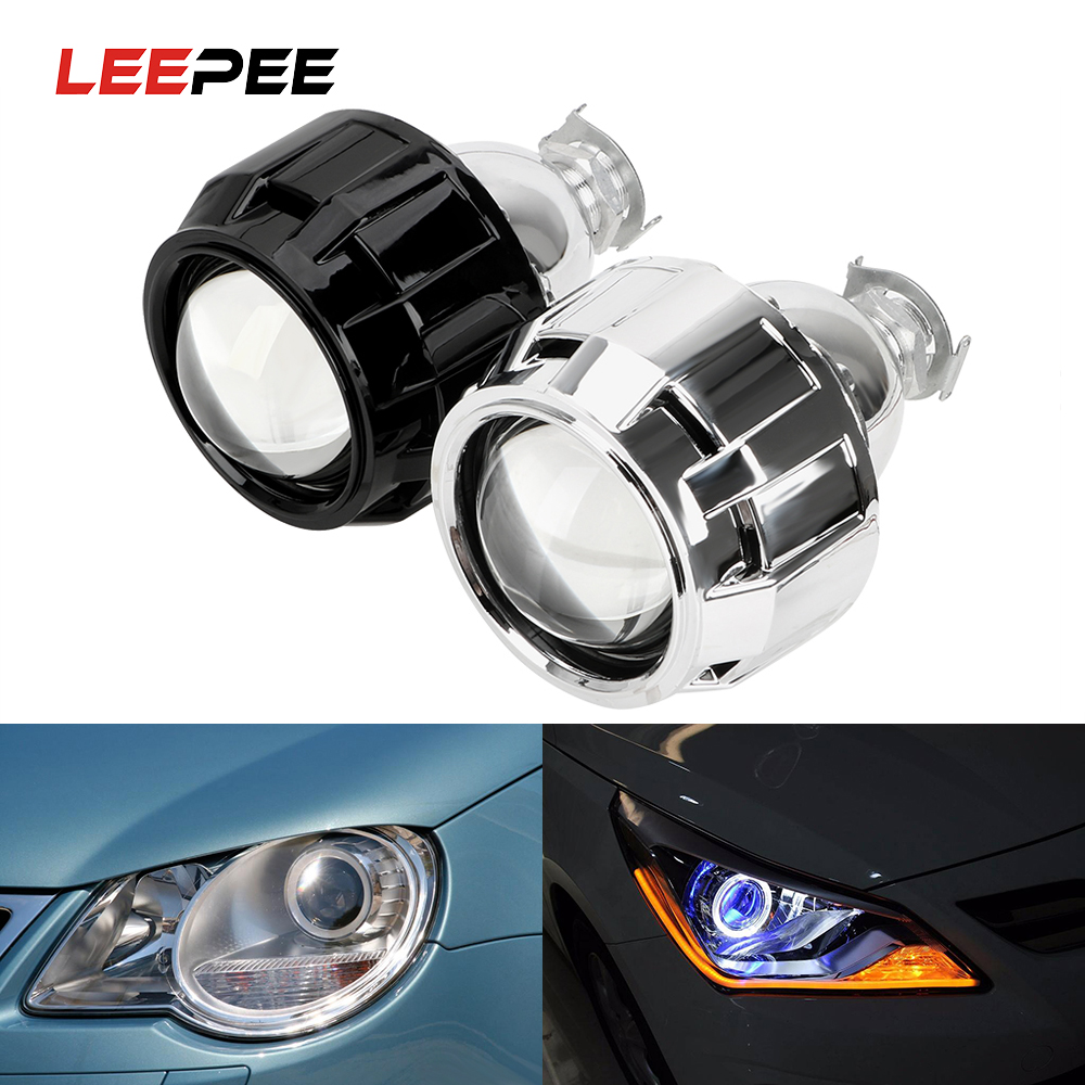 LEEPEE Xenon HID Projector <font><b>Lens</b></font> Silver Black Shell 2.5 Inch For H1 Xenon <font><b>LED</b></font> Bulb H4 <font><b>H7</b></font> Motorcycle Car <font><b>Headlight</b></font> Accessories image