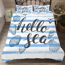 Comforter Bedding Sets Cartoon Pattern Home Textiles Sea Shell Printed Bed Cover King Single Size Bed Linens