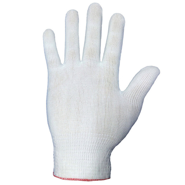 4pcs= 2 pairs White Black Nylon Antistatic Work Gloves Knit Working Gardening Lumbering Hand Safety Security Protector Grip 5