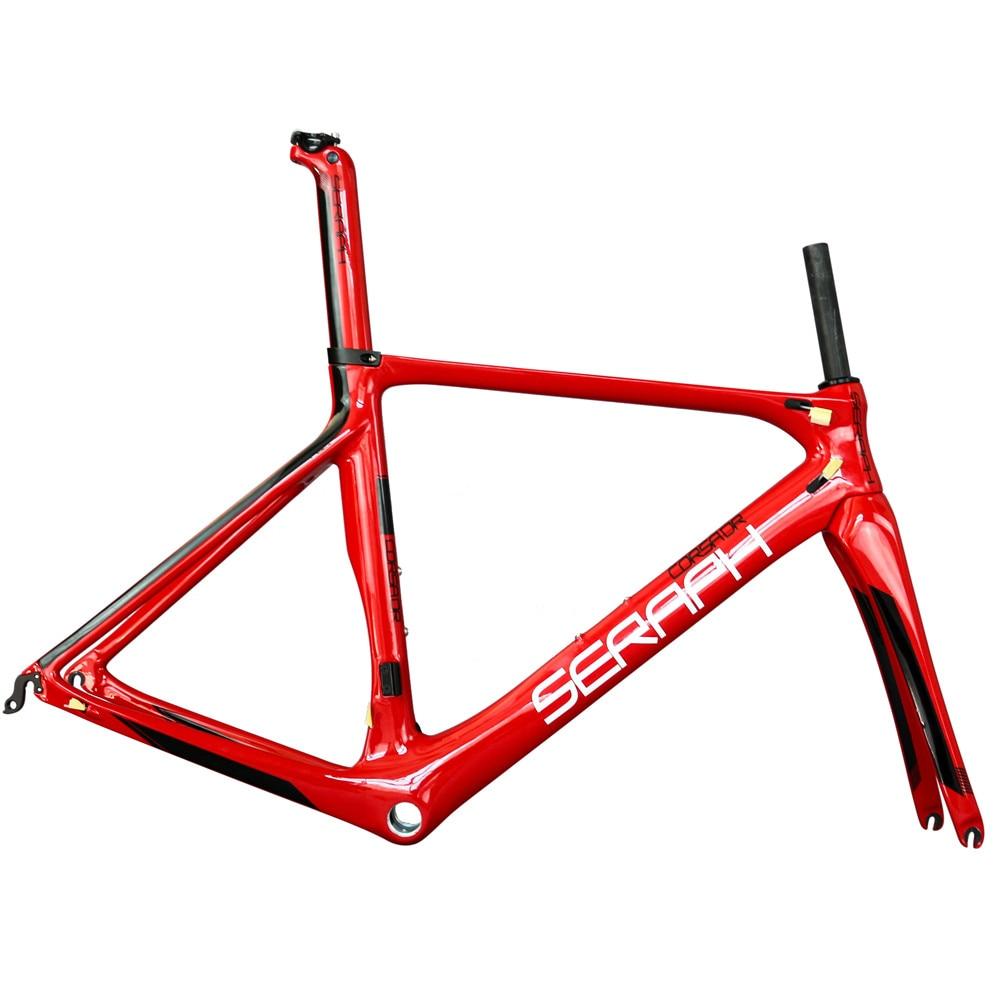 Carbon Fiber T700  Seraph Brand Red Glossy Paint BB86 Aero Carbon Road Frame Fm268