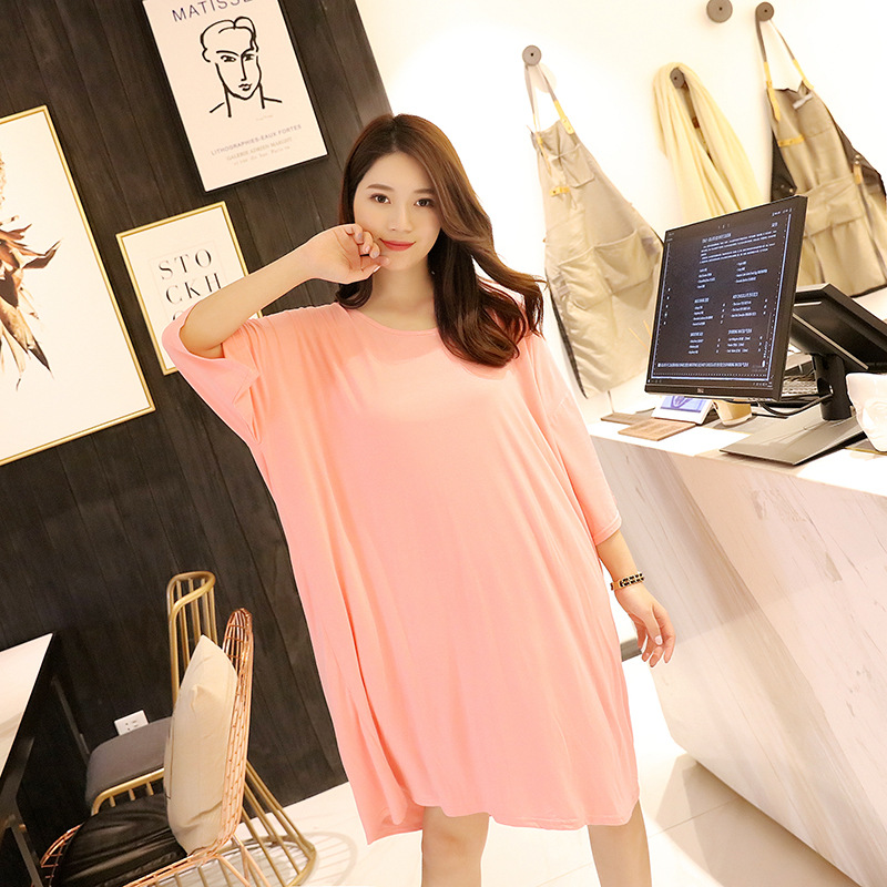 Autumn Loose And Plus-sized Nightgown Mid-length Half-sleeve Shirt Crew Neck Pajamas Dress 200 Of Fat Mm Home Wear