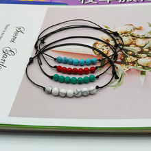 2019 New Fashion Nature Stone Bracelet Green Red Color Simple Charm Rope Bracelet Gift For Friend Wedding Jewelry(China)